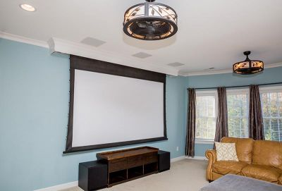 Motorized Screen, projector, and Surround Sound installation