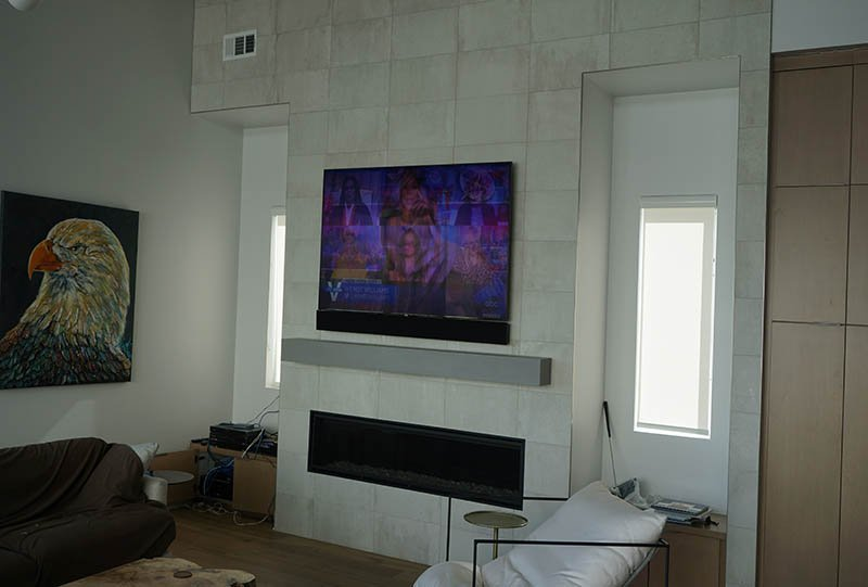 85 Inch Samsung Above Fireplace