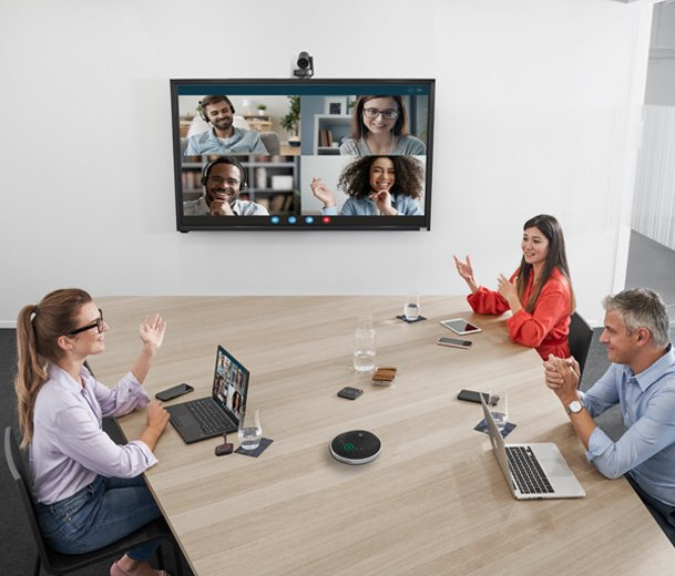 People on a Video Conference Call in a Conference Room